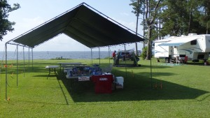 Field Day 2015 info booth initial set up