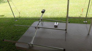 Tape measure fox hunt antenna brought to the event and tested on Bill KR4LO's 'fox' radio rig.
