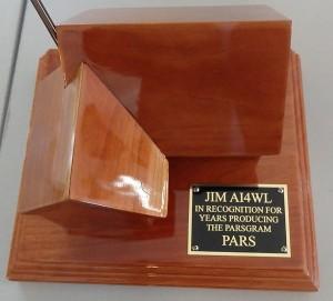 Award Plaque for Jim AI4WL