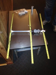 Side view of Randy's tape measure antenna during the meeting.